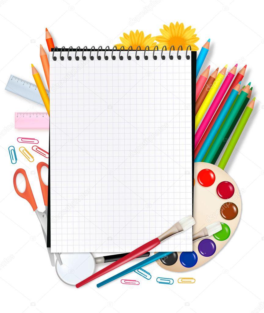 Notebook with school supplies. Vector.