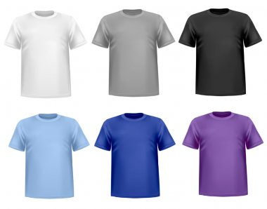 Black and white men polo shirts and t-shirts. Photo-realistic vector illust