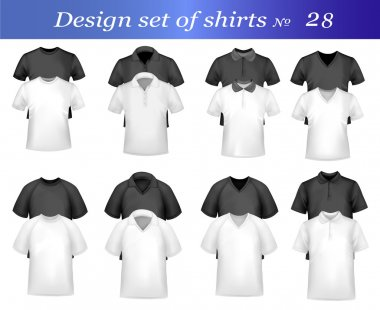 Black, white and grey men polo and t-shirts. Photo-realistic vector illustr