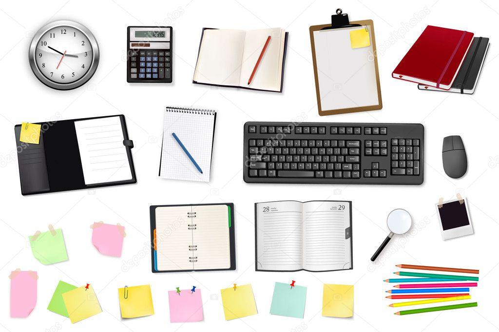 Negocios y tiles de oficina vector vector de stock for Utiles de oficina