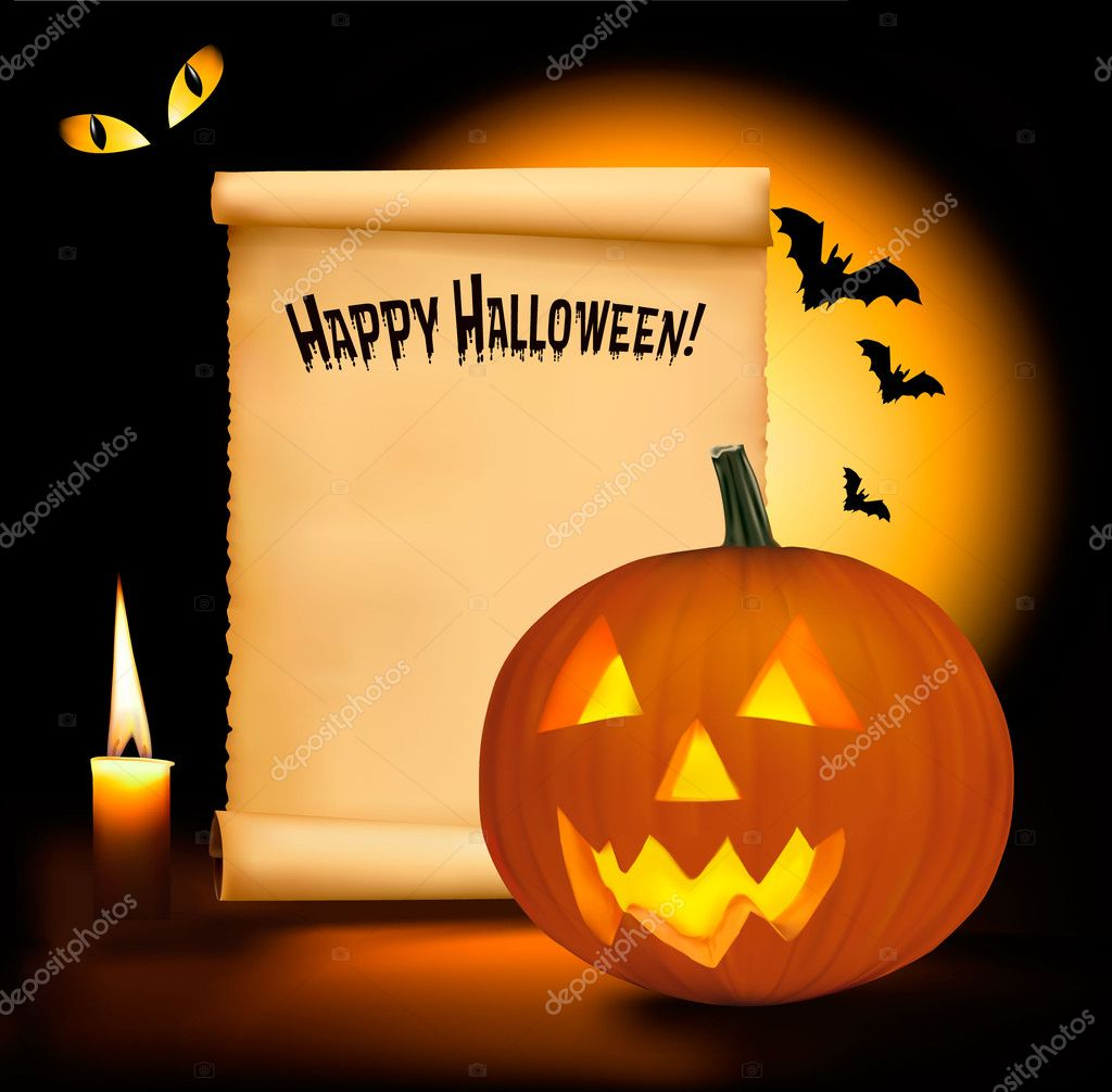 Halloween background with scary pumpkins, bats, cat eyes and a ...