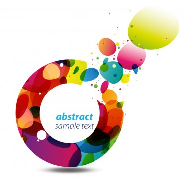 Abstract background with bursting colorful bubbles out of a circle, a modern, stylish and vivid copy space clip art vector