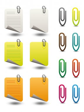 Note papers & paperclips icon set