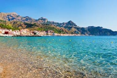 View on Taormina and Gardini Naxos beach, Sicily