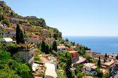 Photo View on town Taormina from Castelmola, Sicily