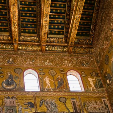 Ancient gold mosaic in Cefalu cathedral