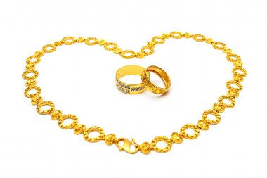 Golden Couple Ring and Necklace