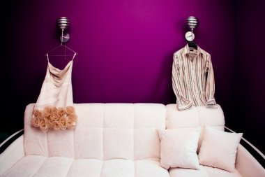 Beautifull clothes of newlyweds in the morning