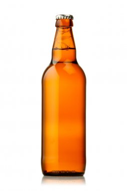 Bottle of beer with drops on white background. The file contains