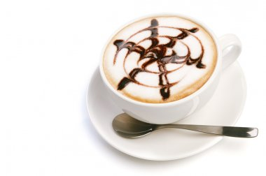 Chocolate cappuccino time.Cup of coffee