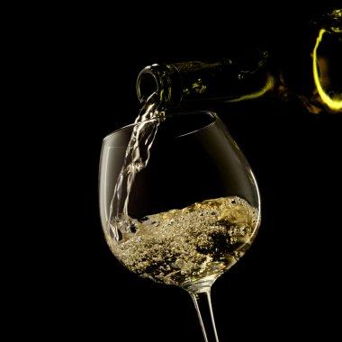 White wine ona a black background