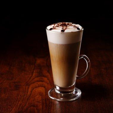 Latte mug on a wooden table