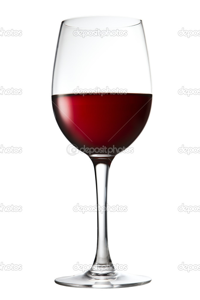 Wine glass on a white with red wine