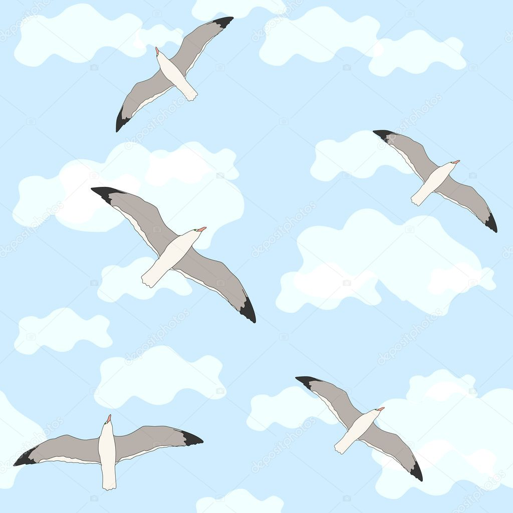 Wallpaper With Birds wallpaper with birds and clouds — stock vector © oxanka #5796603