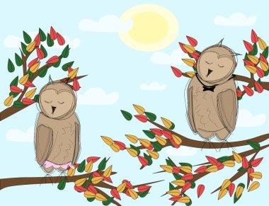 Autumn lanscape with cartoon owls asleep