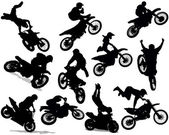 Photo Motorcycle stunt silhouette set