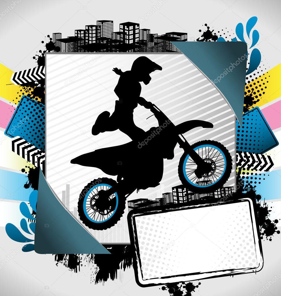 marco de verano abstracto con silueta de motociclista — Archivo ...