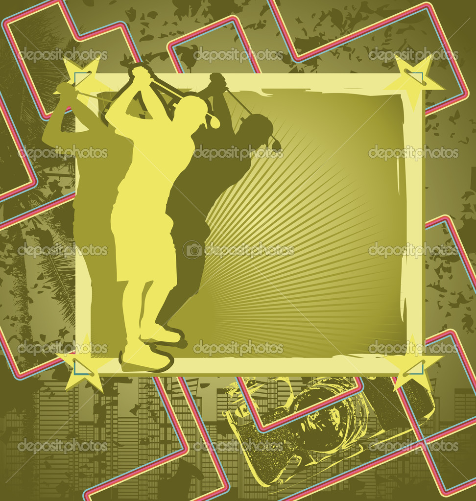 Vintage Background Design With Golf Player Silhouette Vector Il Stock