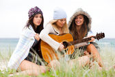 Fotografie Young Women at the Beach With a Guitar