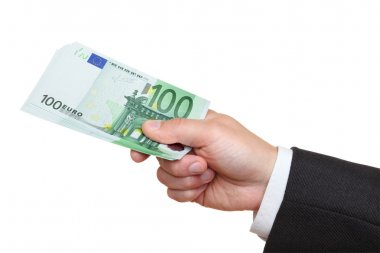 Hand of businessman holding one hundred euro banknotes.