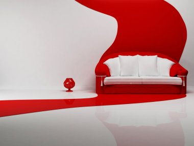 Interior design scene with a nice sofa and a vase