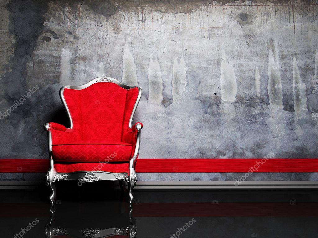 interior design scene with a red retro armchair stock photo interior design scene with a red retro armchair stock photo 5738873