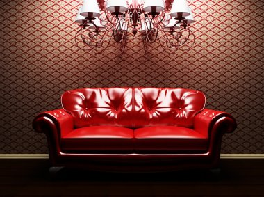 A sofa and a luster in the interoir