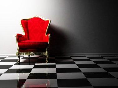 Interior design with a classic elegant armchair