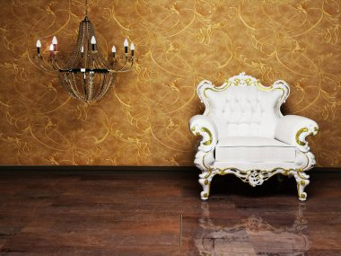 Interior design with a classic elegant armchair and a chandelie