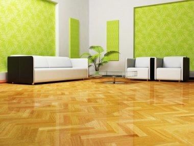Moder interior design of living room, 3d render