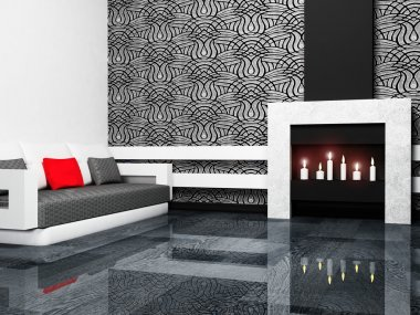 Modern interior design of living room with a fireplase and a so