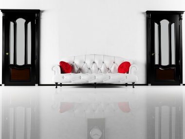 Interior design scene with the black classic doors and a white s