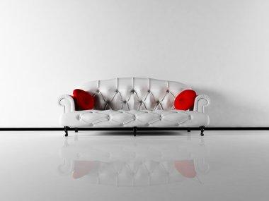Interior design scene with a classic white sofa in empty room