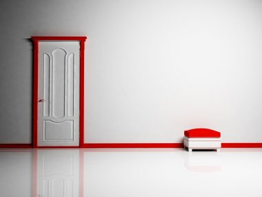White and red classic door and a pouf in empty bright room