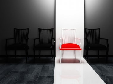 Interior design scene with four chairs in a row