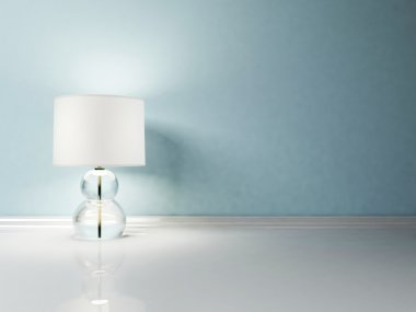 Interior design scene with a nice lamp on the white floor