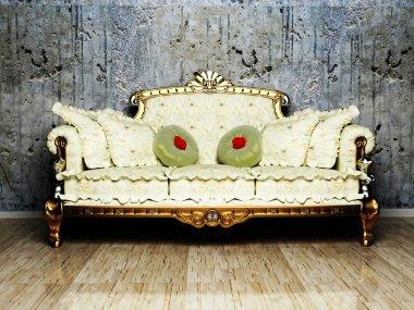 Interior design scene with a classic royal sofa