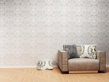 Interior design scene with a nice armchair