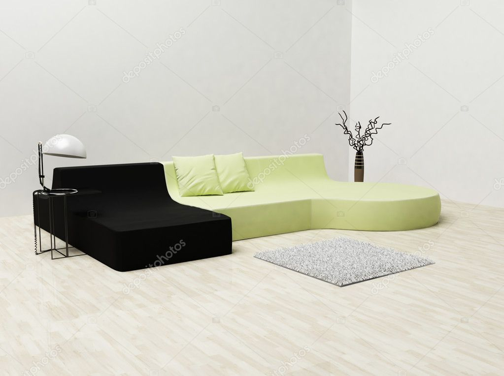 Modern Interieur Wit : A modern interior wit a sofa and a carpet and a vase u2014 stock photo