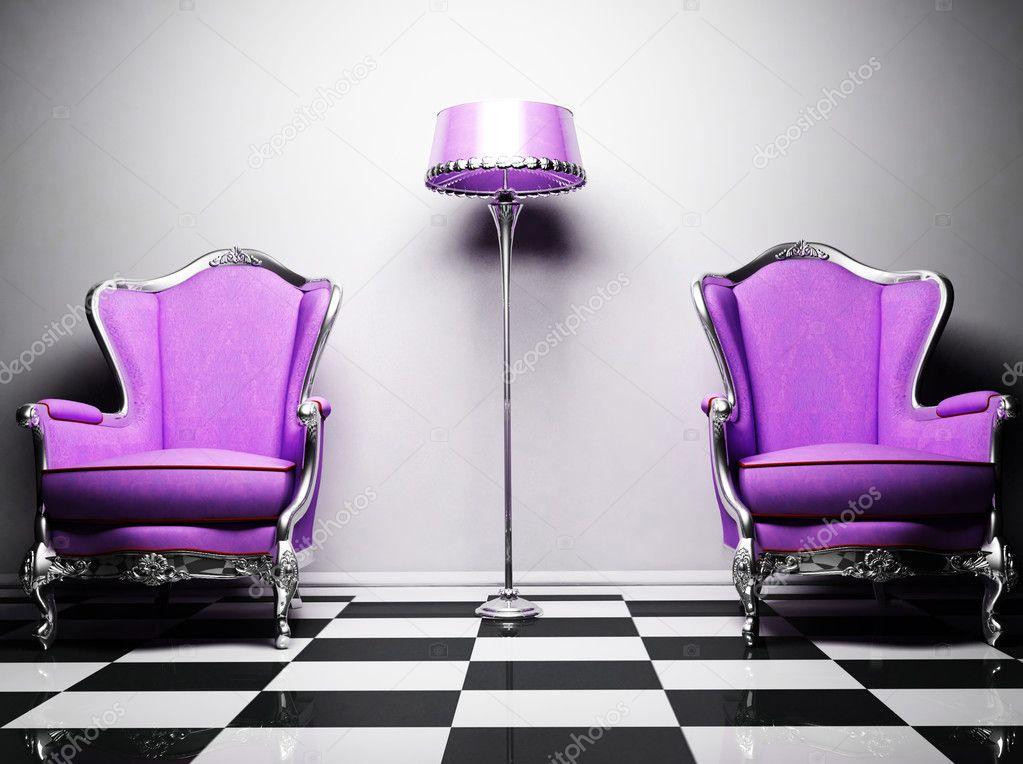 Twee Klassieke Fauteuils.Interieur Design Met Twee Violet Klassieke Elegante Fauteuils En Een