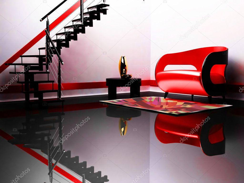 Divano Rosso E Nero : Interni moderni con un divano rosso e nero un tavolo e un nero