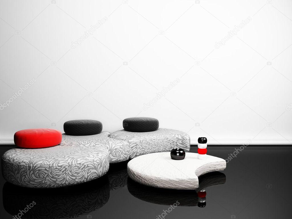 Modern interieur met een creatieve poef en een tabel in