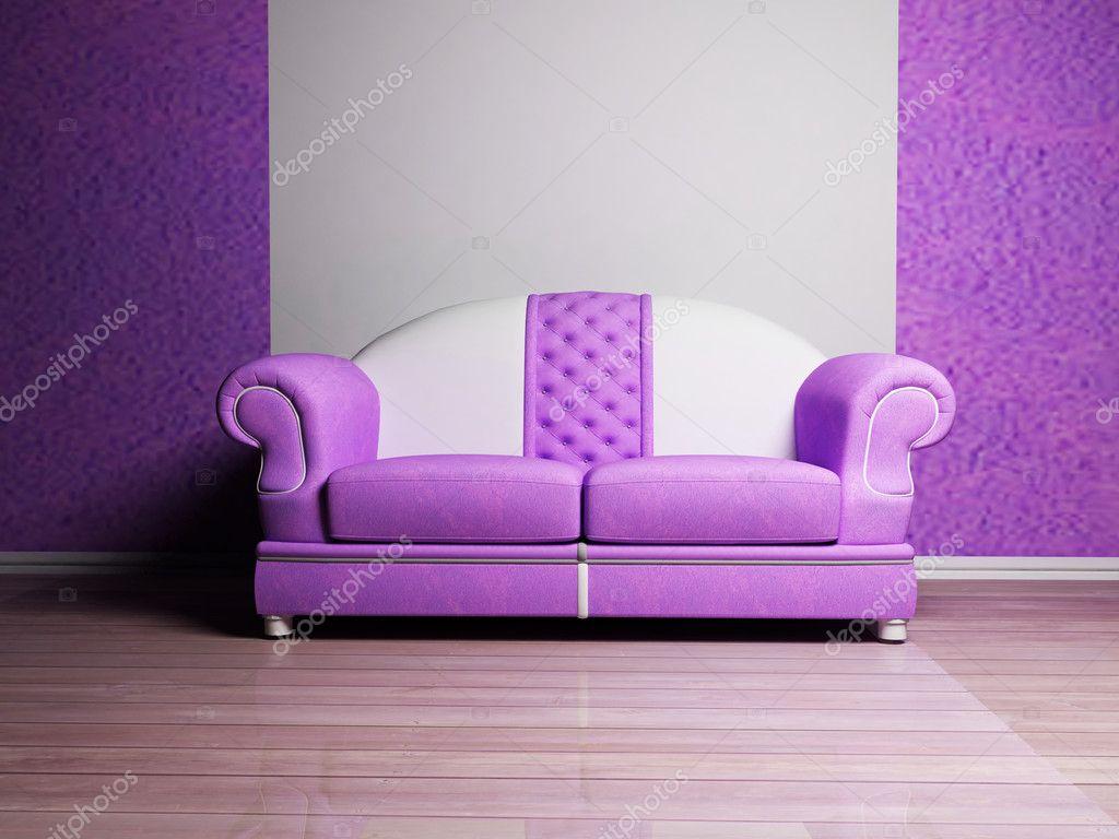 Interni dal design moderno con divano bianco e violetto for Design moderno interni