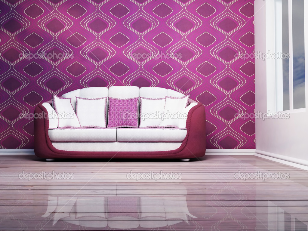 Nice Sofa Modern Interior Design With A Nice Sofa And A Window  Stock Photo