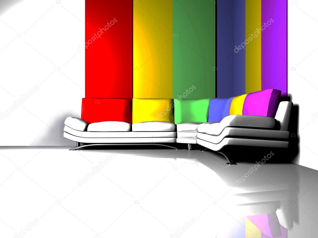 Scena di interior design con un divano bianco con cuscini colorati foto stock minerva86 5747046 - Cuscini divano design ...