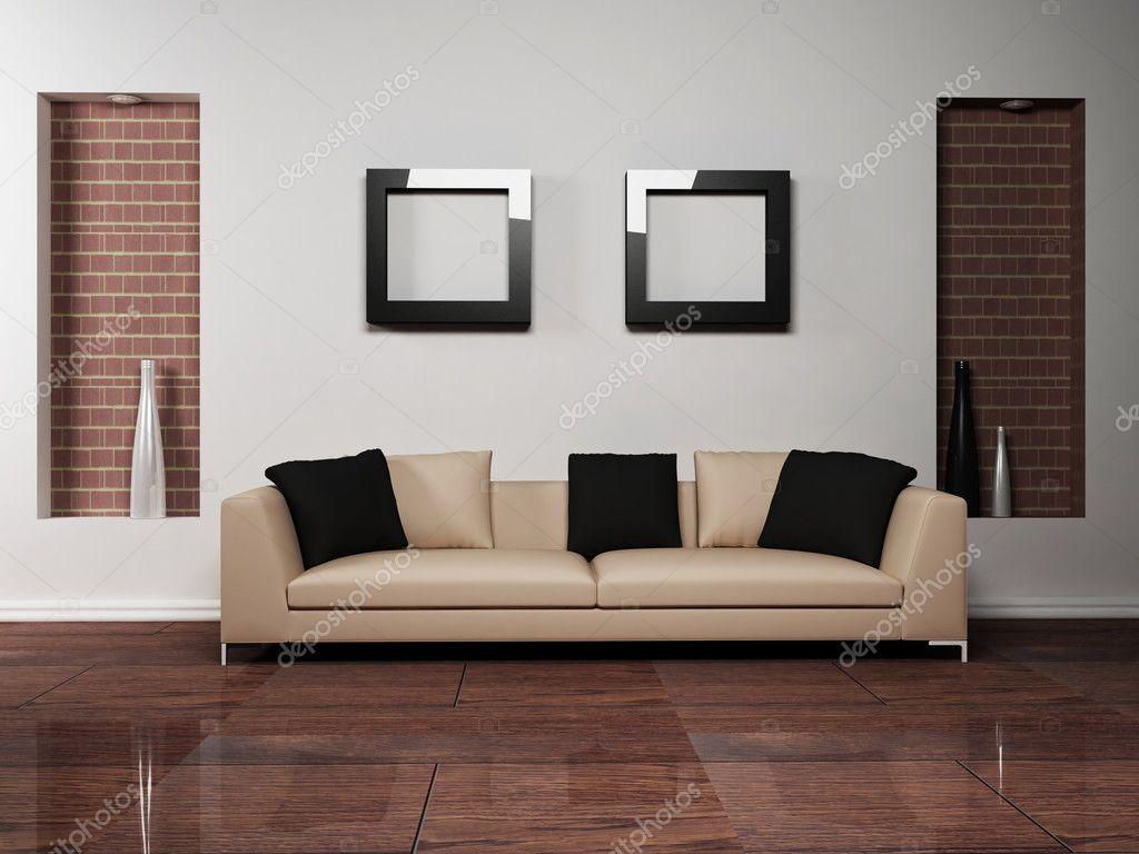 Arredamento moderno di soggiorno con un divano bello u foto stock