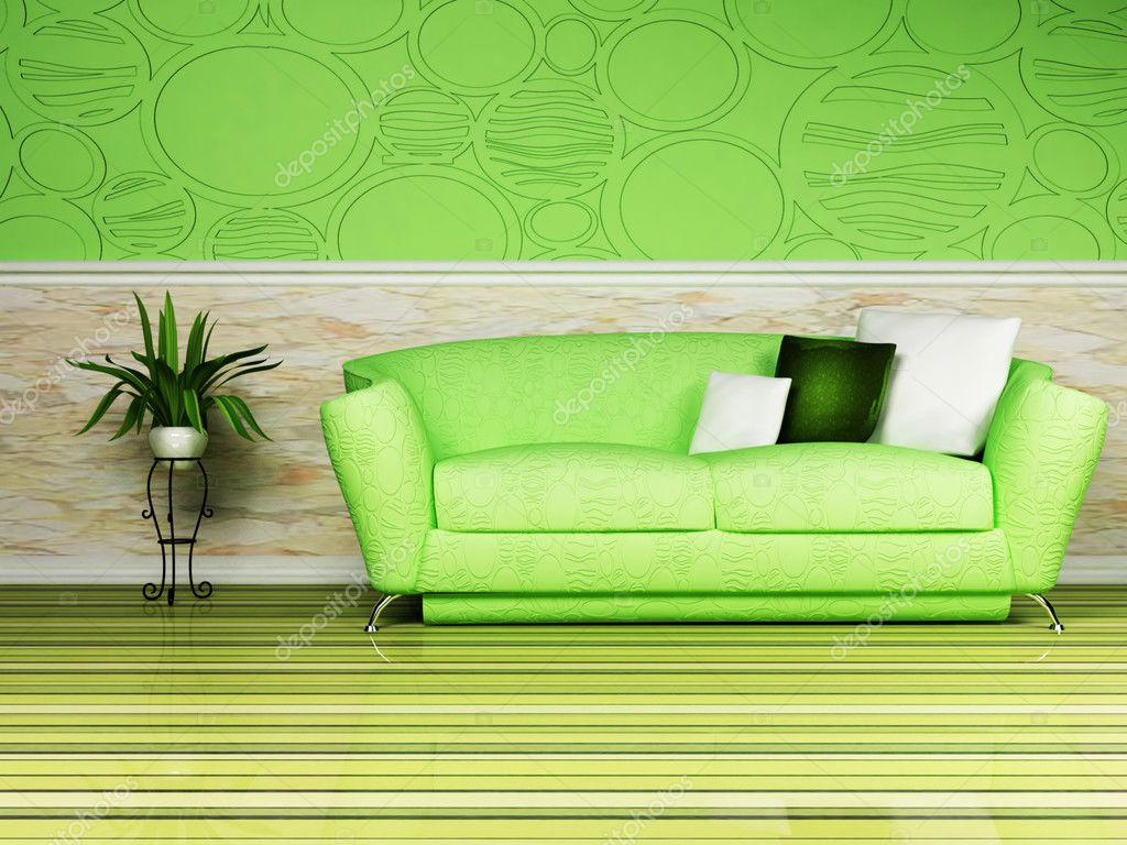 bright interior design with a nice sofa and and a plant — stock