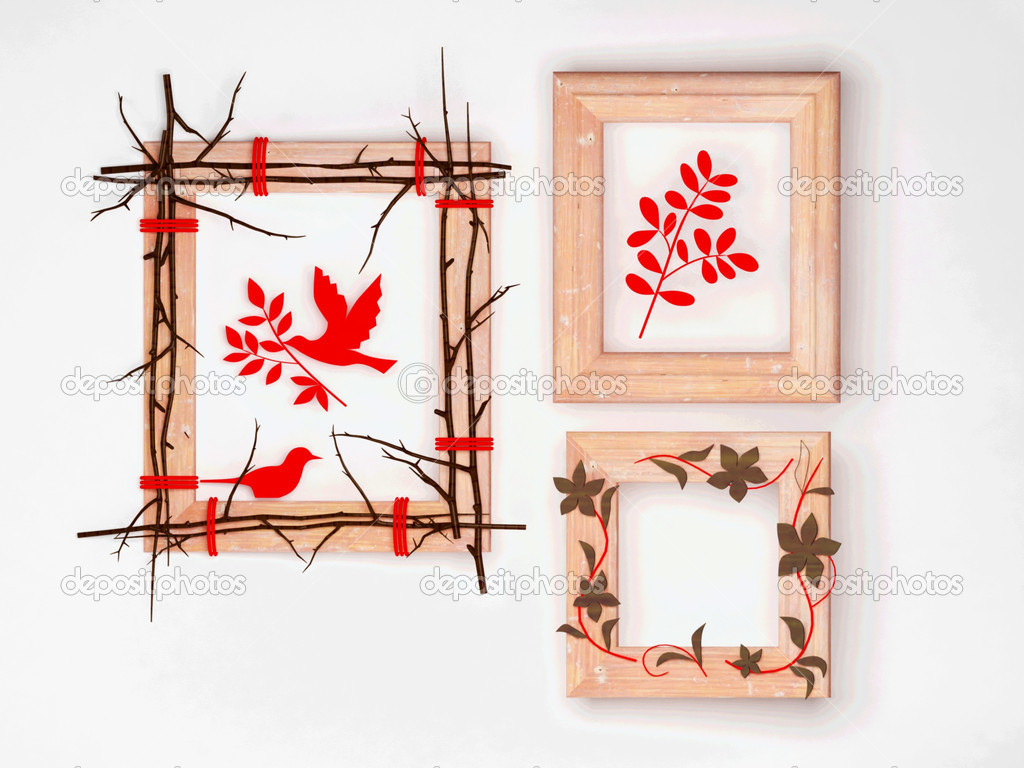 tres marcos de madera creativos — Fotos de Stock © minerva86 #5846355
