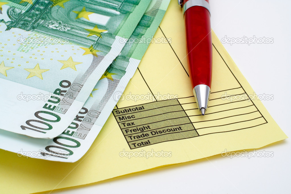 Blank Invoice With Pen And Money Euros Stock Photo C Broker 5882953