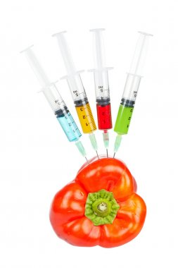 Red pepper with four syringes